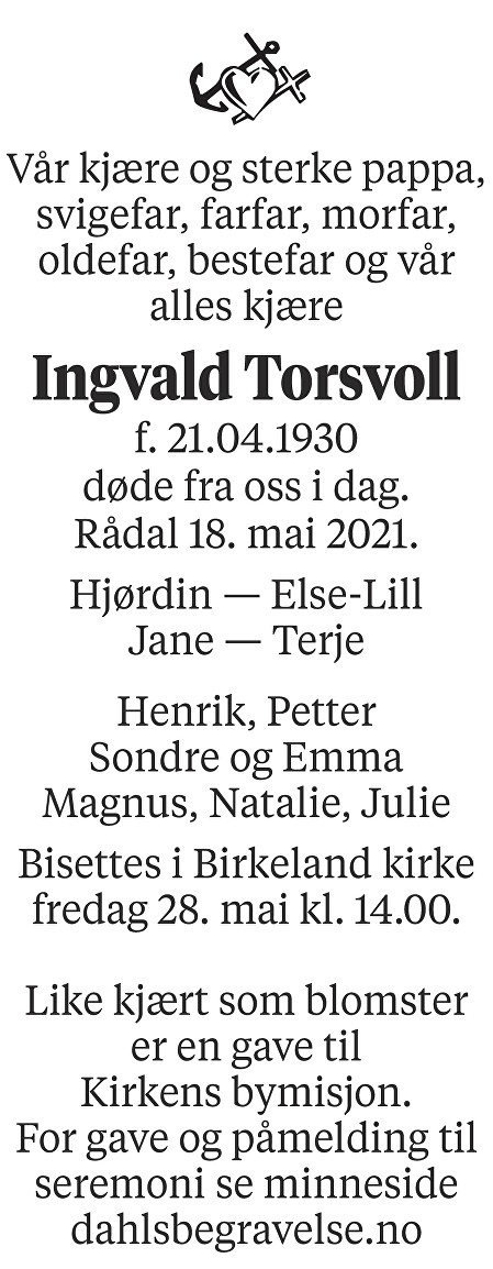 Ingvald Torsvoll Dødsannonse