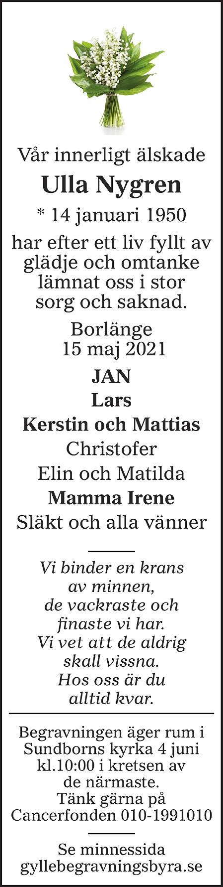 Ulla Nygren Death notice