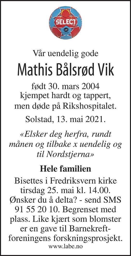 Mathis Bålsrød Vik Dødsannonse