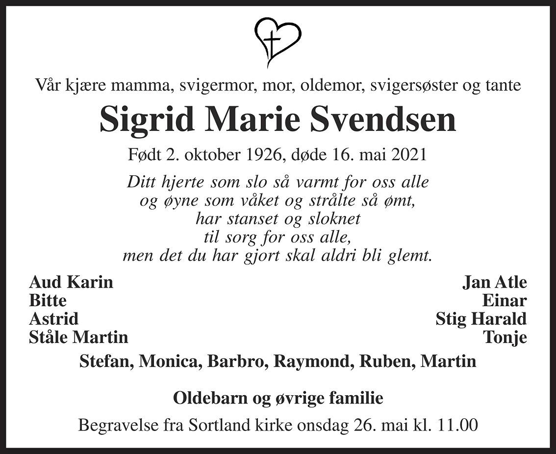 Sigrid Marie Svendsen Dødsannonse