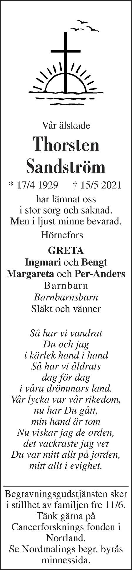 Thorsten Sandström Death notice