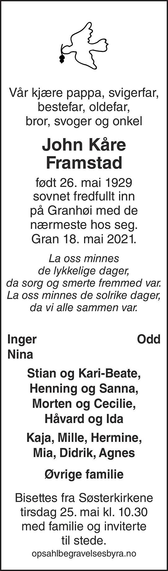 John Kåre Framstad Dødsannonse
