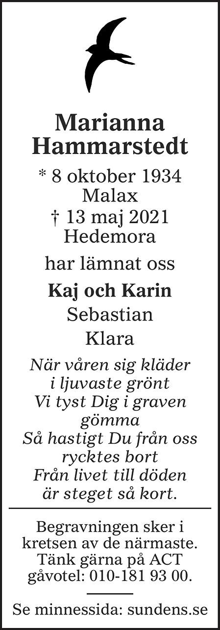 Marianna Hammarstedt Death notice