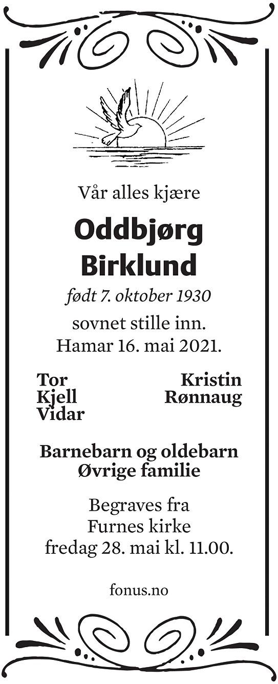 Oddbjørg Birklund Dødsannonse