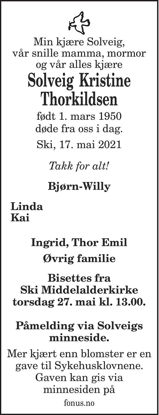 Solveig Kristine Thorkildsen Dødsannonse