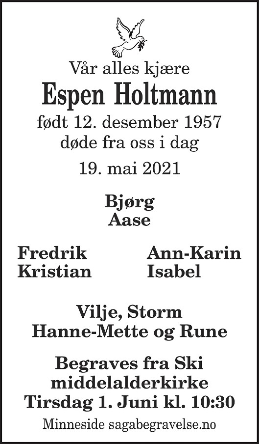 Espen Holtmann Dødsannonse