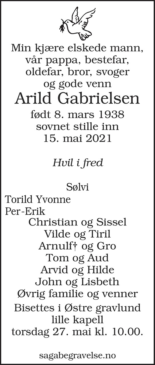 Arild Gabrielsen Dødsannonse
