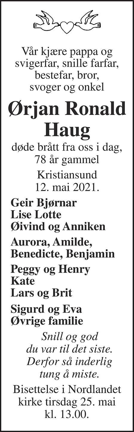 Ørjan Ronald Haug Dødsannonse