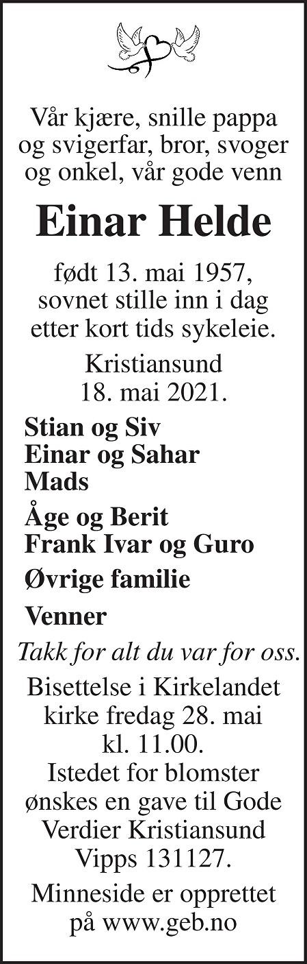 Einar Arne Helde Dødsannonse