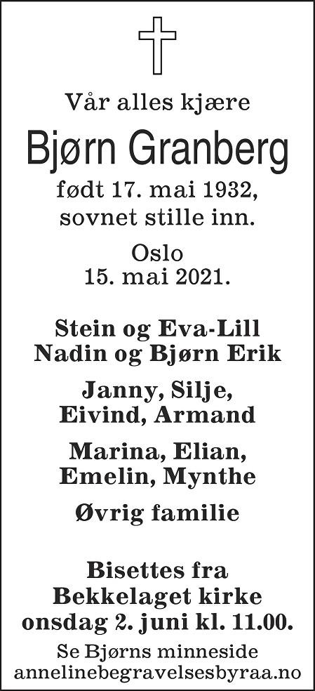 Bjørn Granberg Dødsannonse