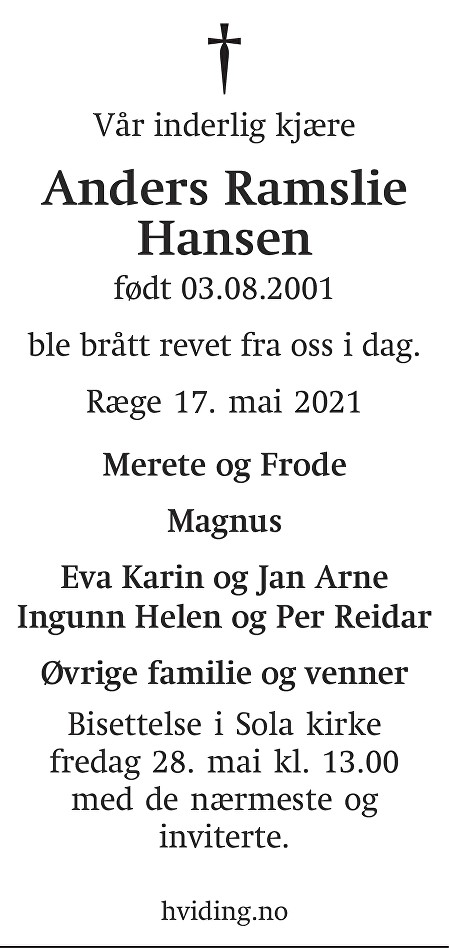 Anders Ramslie Hansen Dødsannonse