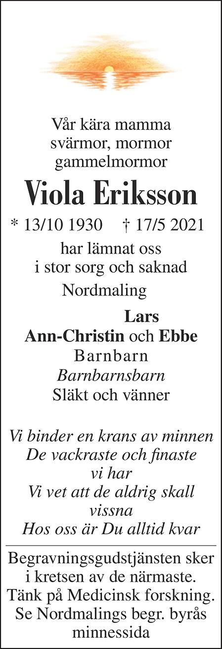 Viola Eriksson Death notice