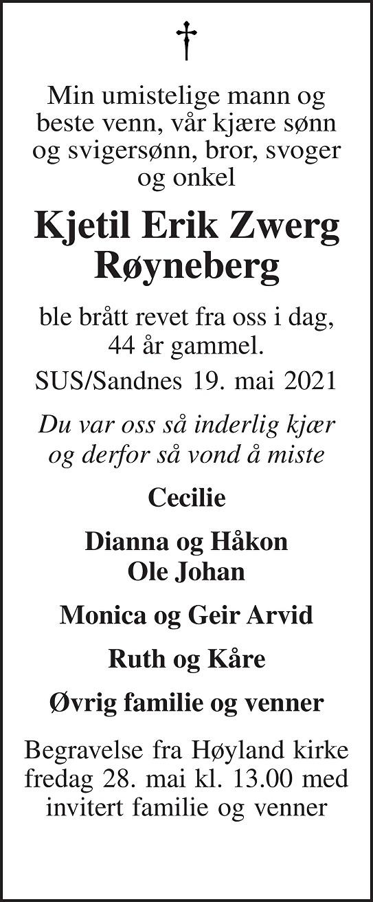 Kjetil Erik Zwerg Røyneberg Dødsannonse