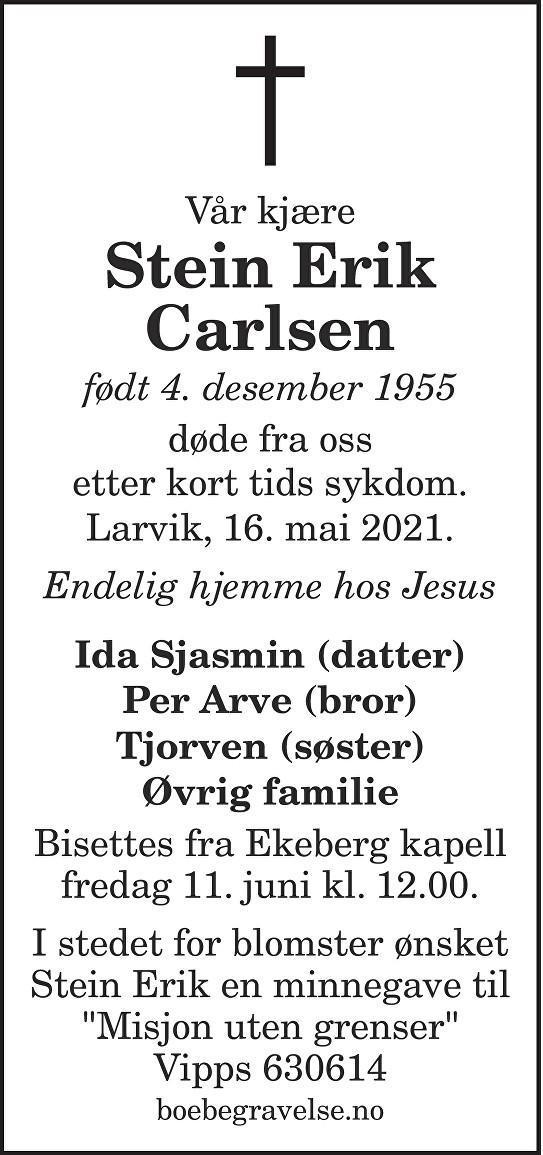 Stein Erik Carlsen Dødsannonse