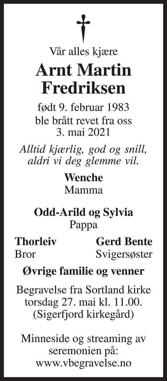 Arnt Martin Fredriksen Dødsannonse