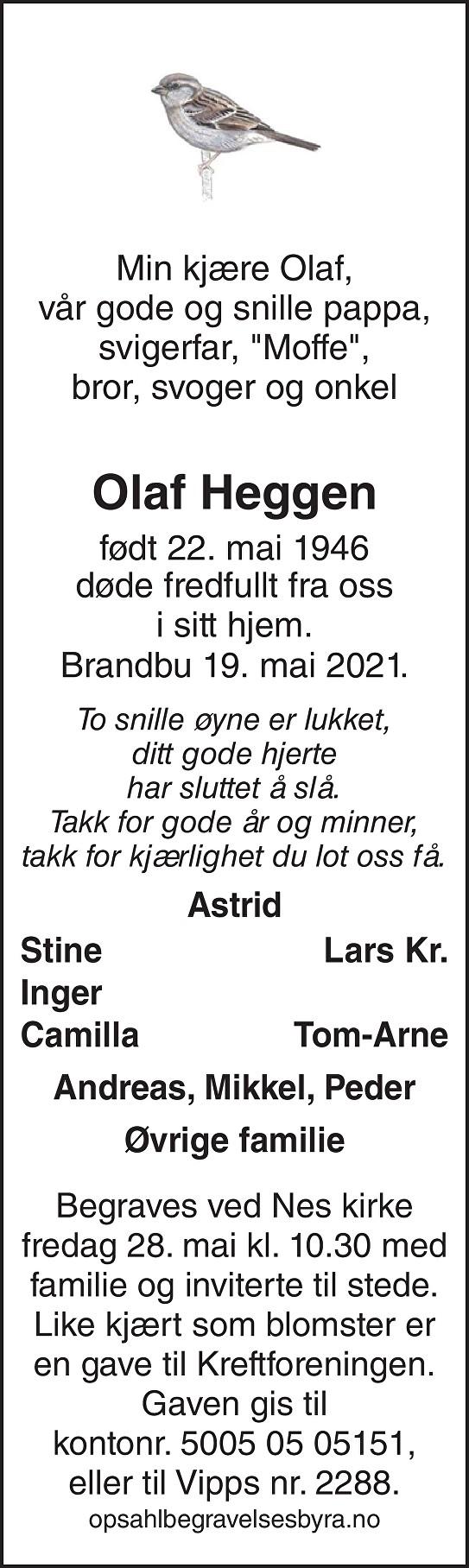 Olaf Heggen Dødsannonse