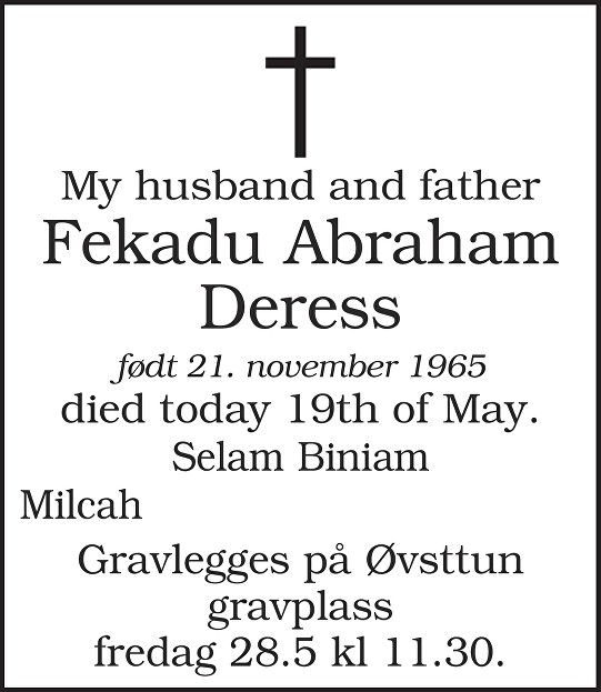 Fekadu Abraham Deress Dødsannonse