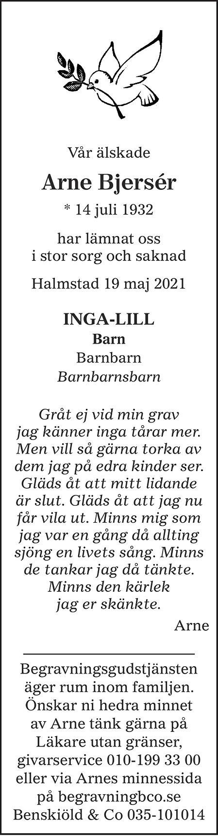 Arne  Bjersér Death notice