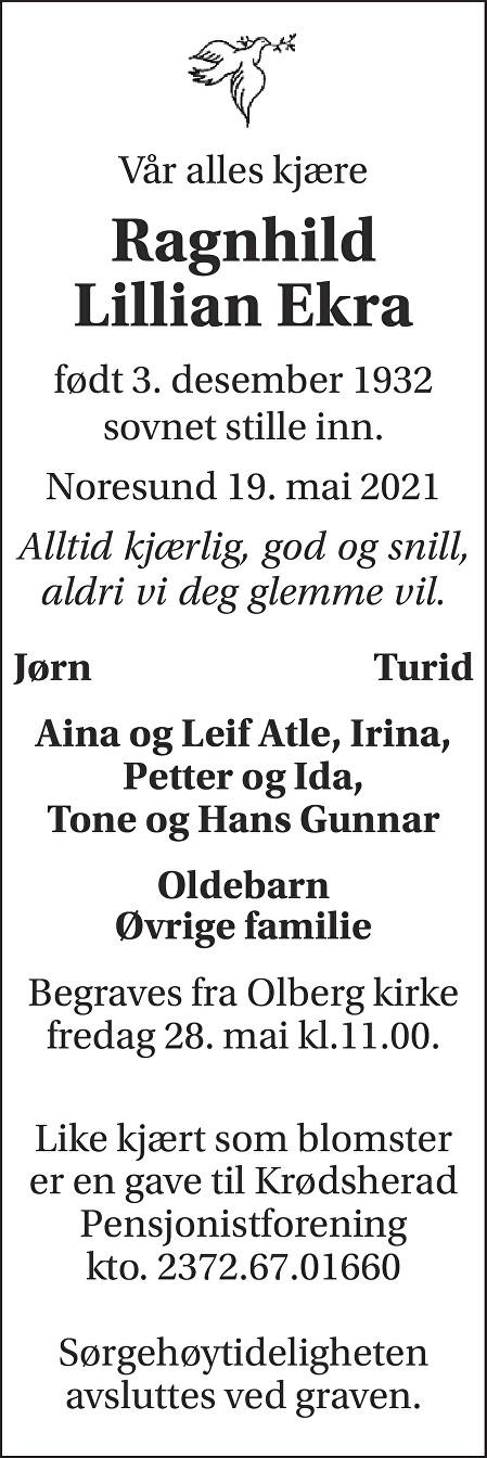 Ragnhild Ekra Dødsannonse