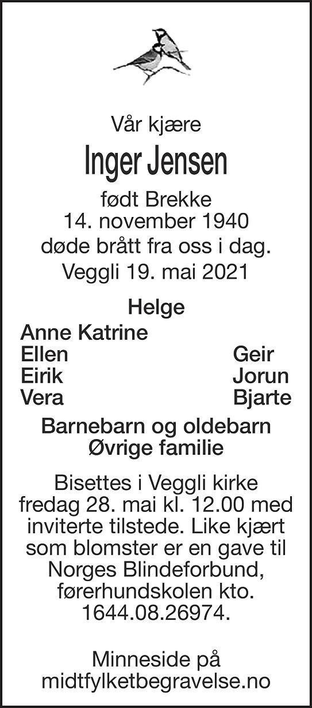 Inger  Jensen Dødsannonse