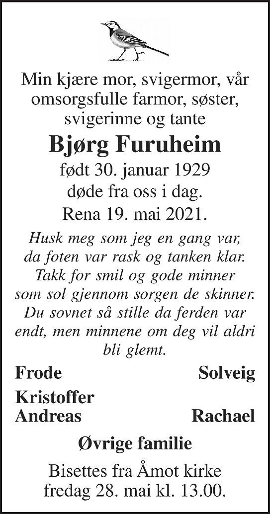 Bjørg Furuheim Dødsannonse