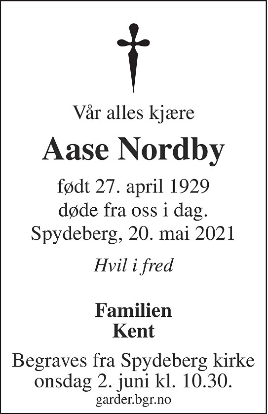 Aase Nordby Dødsannonse