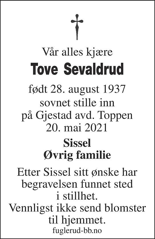 Tove Sevaldrud Dødsannonse