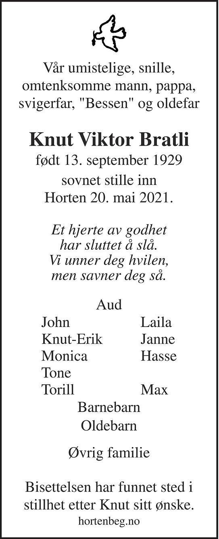 Knut Viktor Bratli Dødsannonse