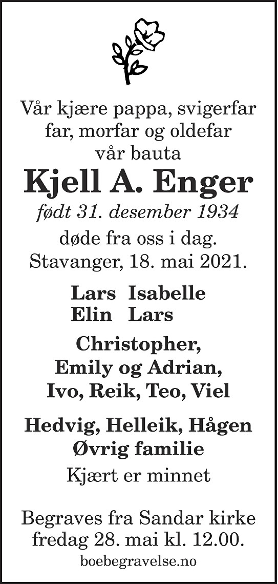 Kjell A. Enger Dødsannonse