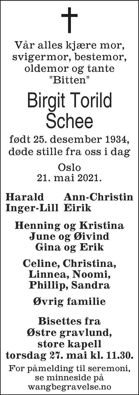 """Bitten"" Birgit Torild Schee Dødsannonse"