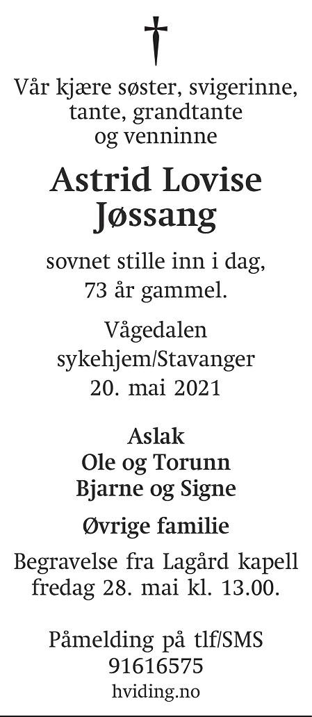 Astrid Lovise Jøssang Dødsannonse