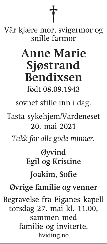 Anne Marie Sjøstrand Bendixen Dødsannonse