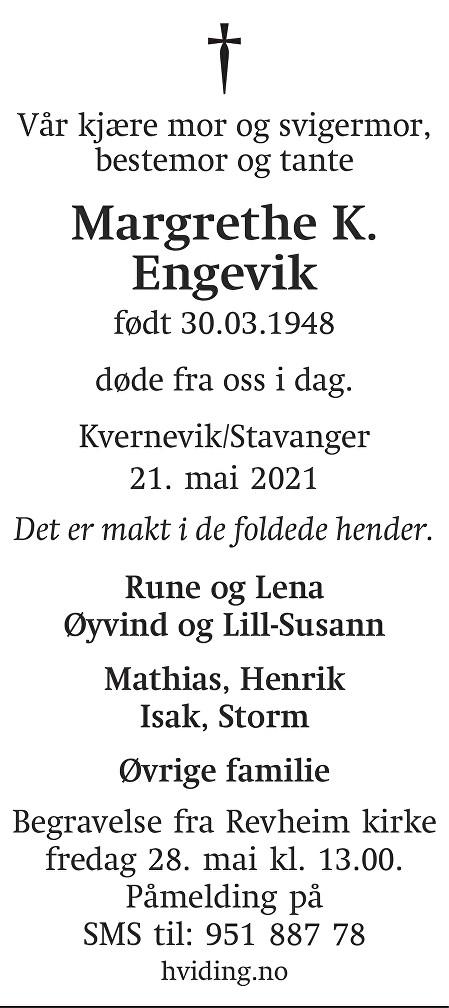 Margrethe Audhild Klengsen Engevik Dødsannonse