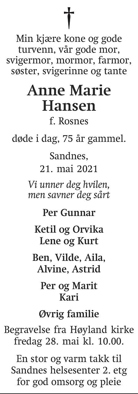 Anne Marie Hansen Dødsannonse