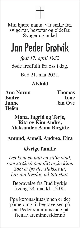 Jan Peder Grøtvik Dødsannonse