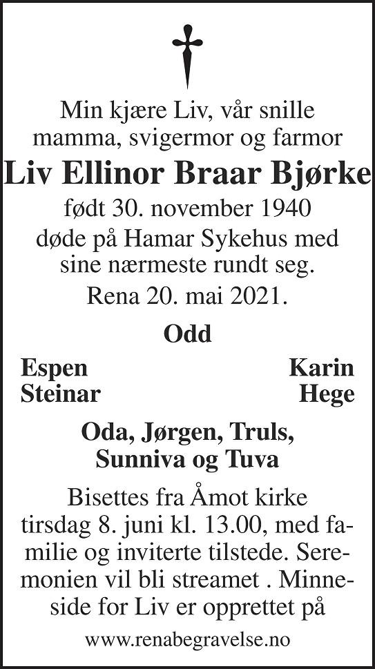 Liv Ellinor Braar Bjørke Dødsannonse