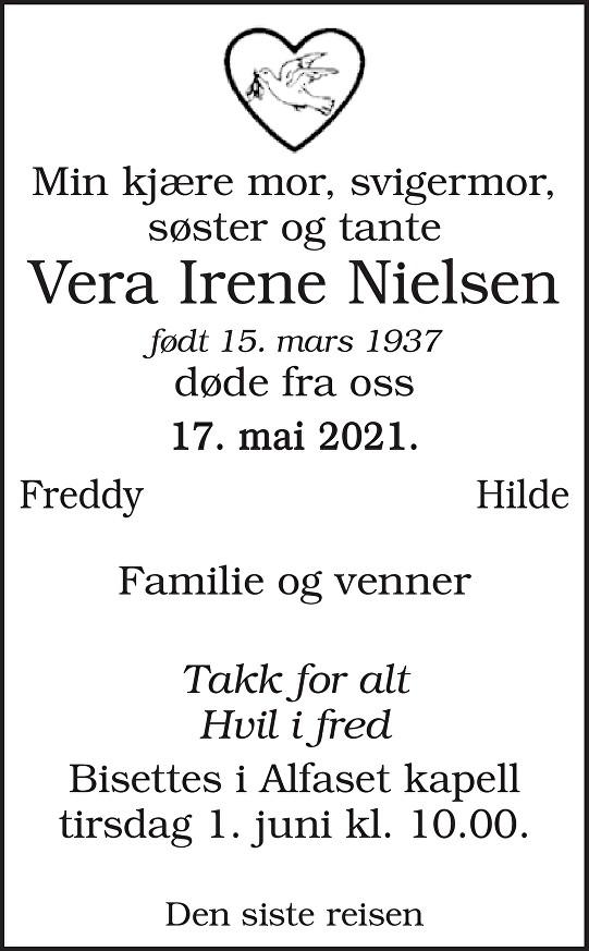 Vera Irene Nielsen Dødsannonse
