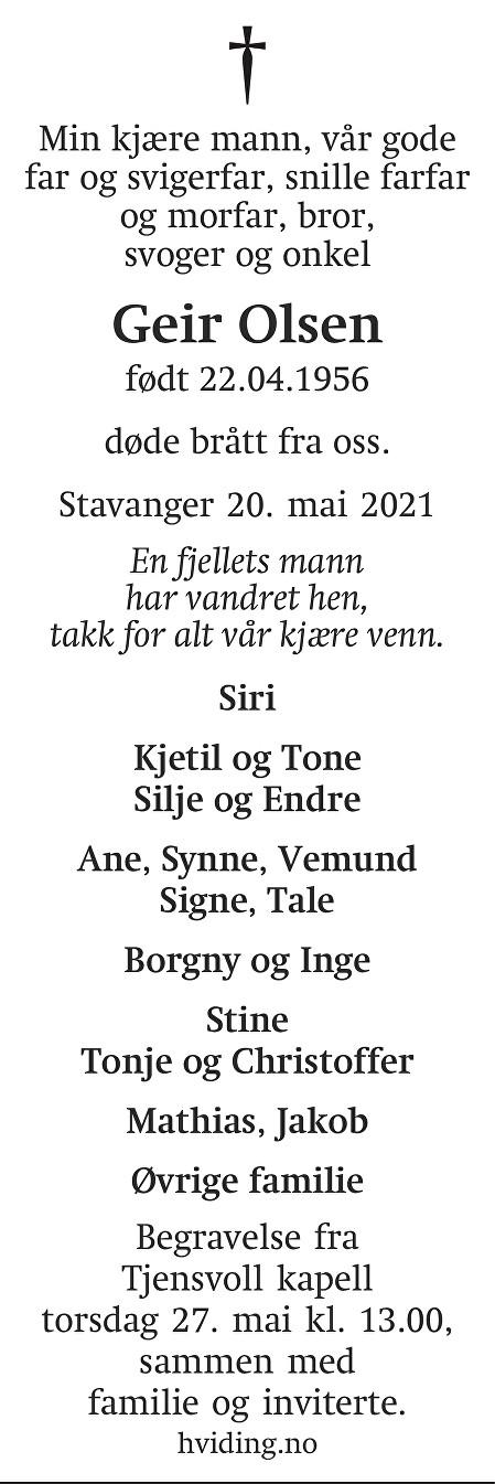 Geir Olsen Dødsannonse