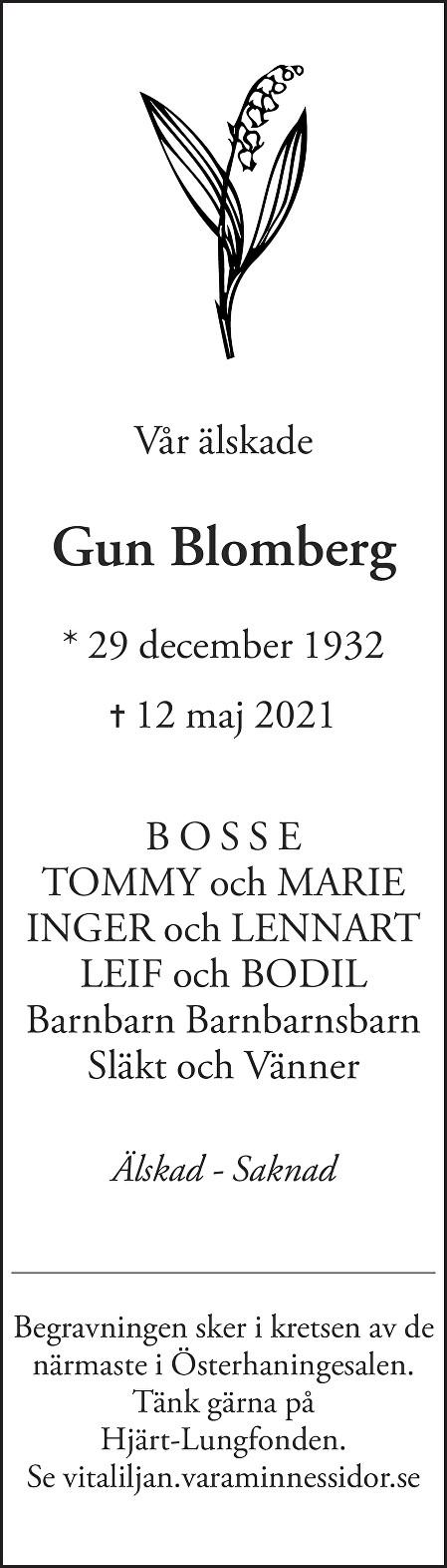 Gun Blomberg Death notice
