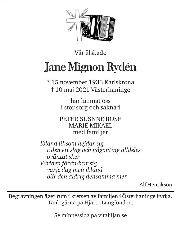 Jane Rydén Death notice