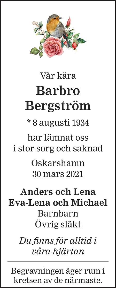 Barbro Bergström Death notice