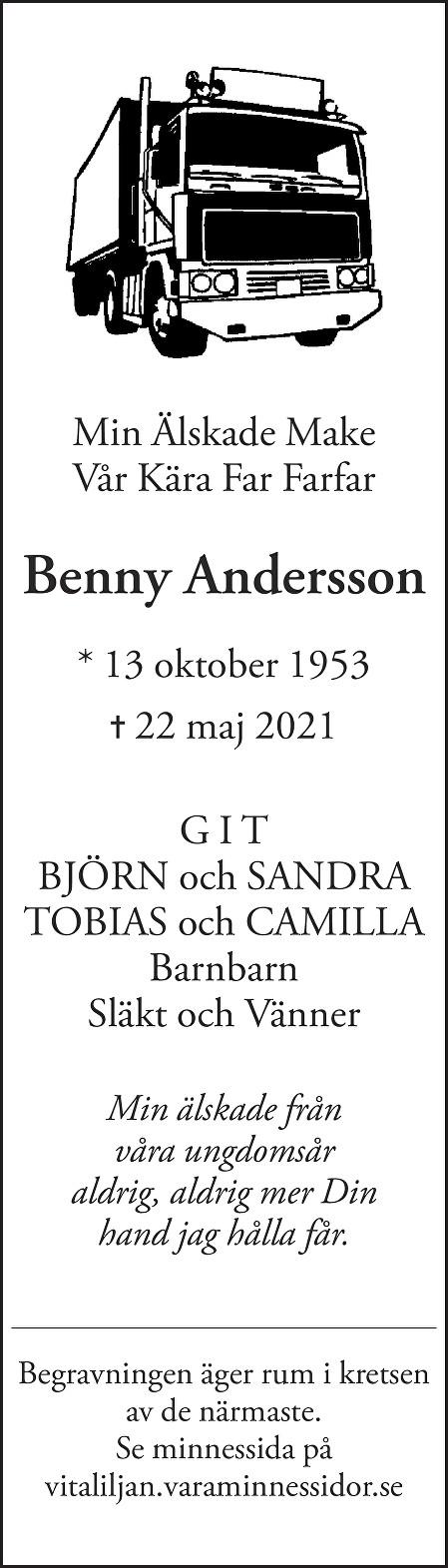 Benny  Andersson Death notice