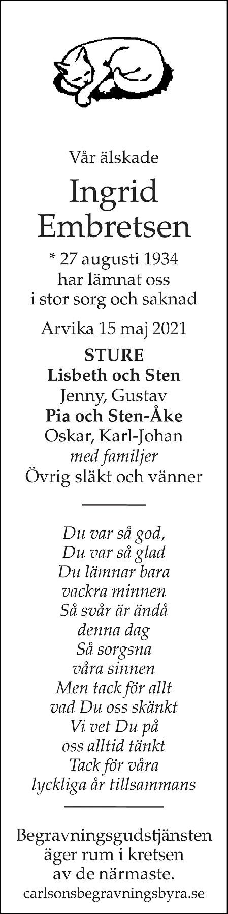 Ingrid Embretsen Death notice