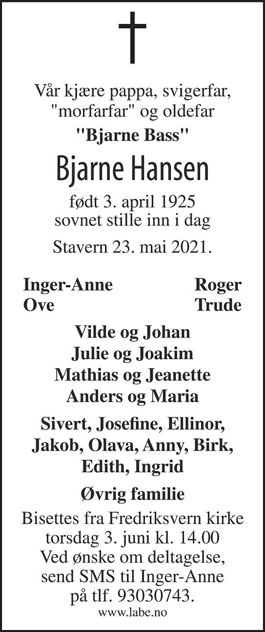 Bjarne Hansen Dødsannonse