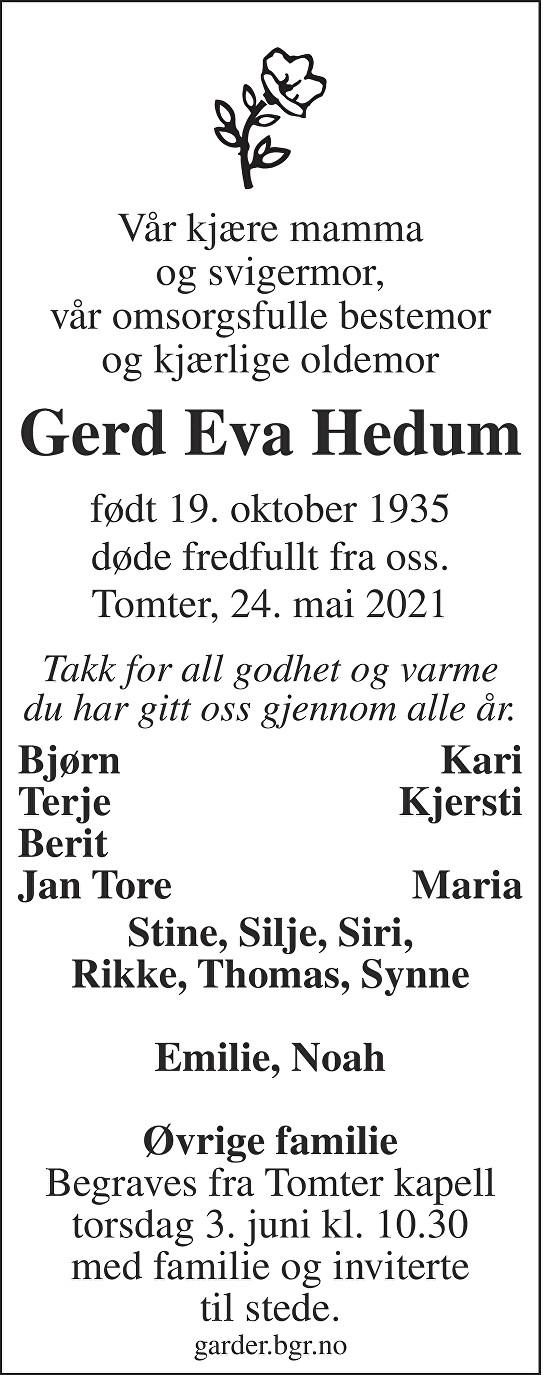 Gerd Eva Hedum Dødsannonse