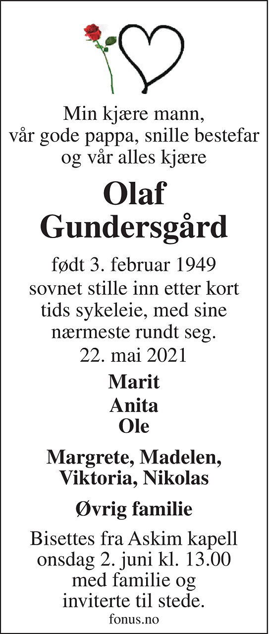 Olaf Gundersgård Dødsannonse
