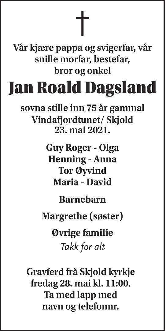 Jan Roald Dagsland Dødsannonse