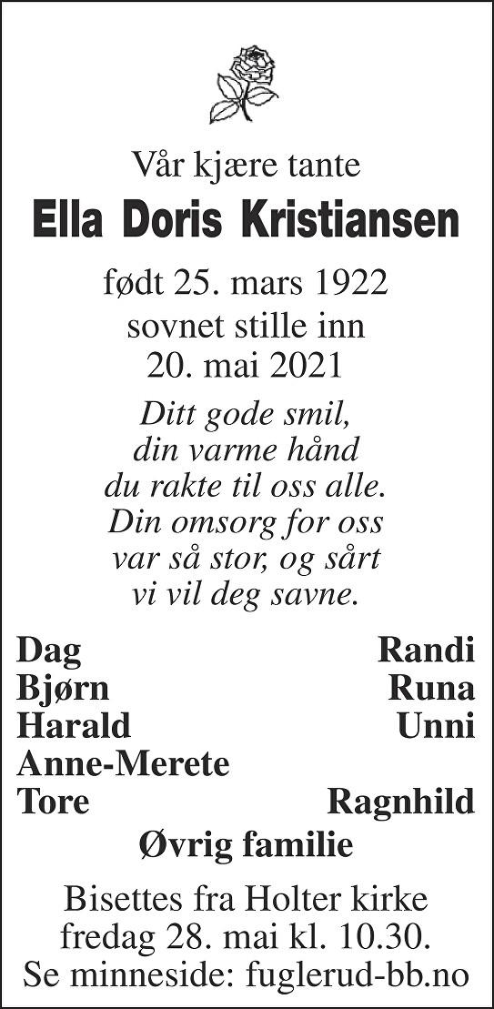 Ella Doris Kristiansen Dødsannonse