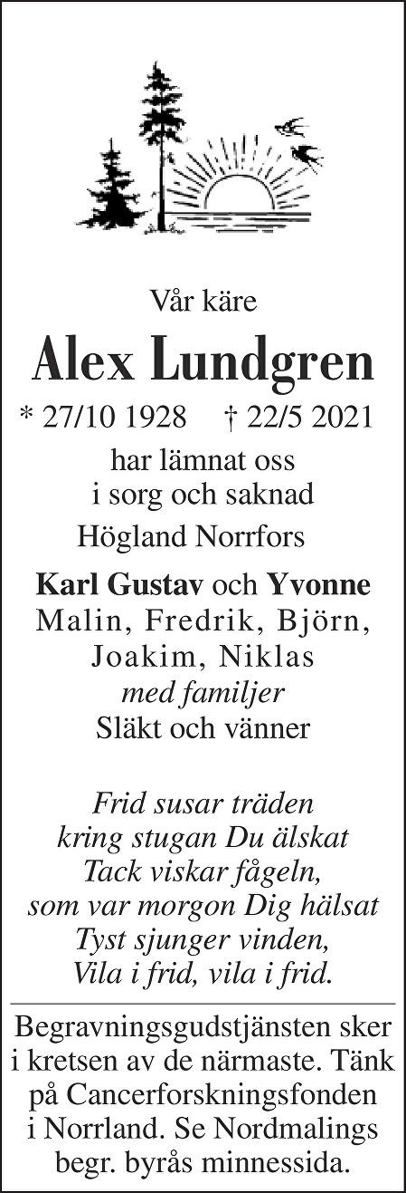 Alex Lundgren Death notice