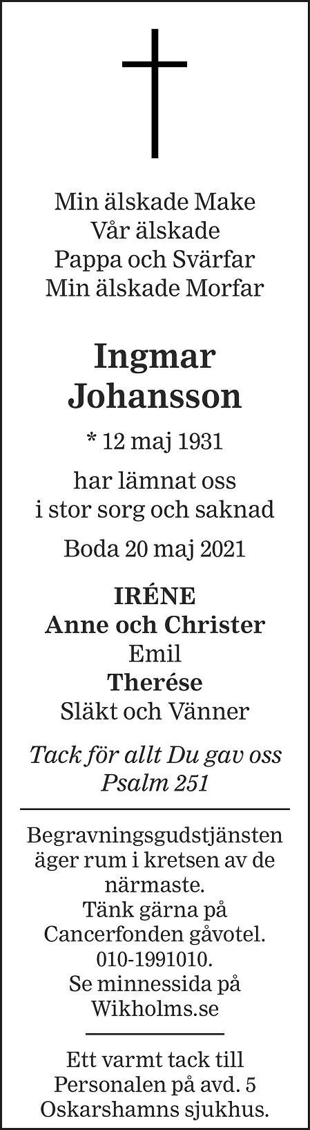 Ingmar Johansson Death notice